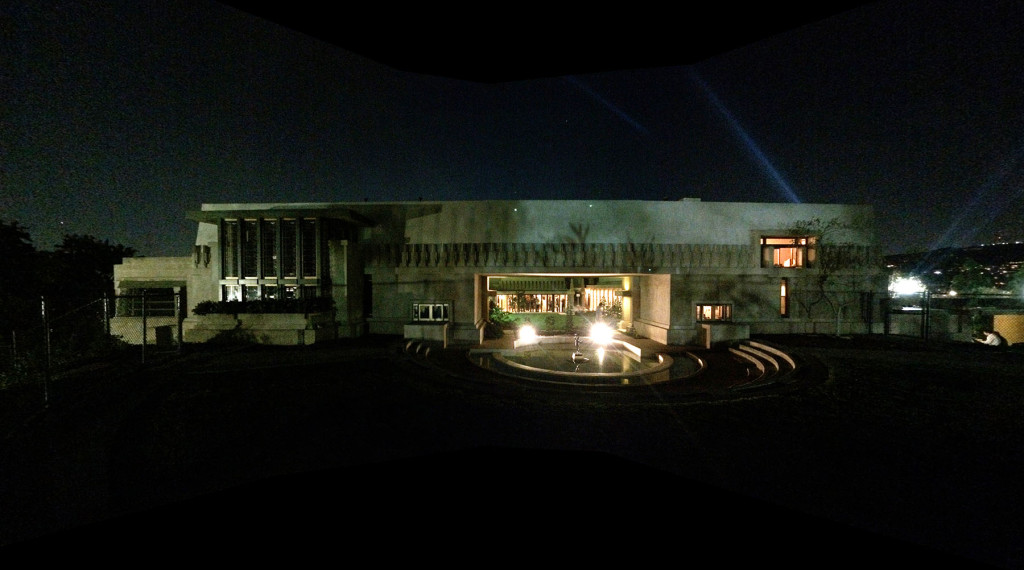 Hollyhock House East Elevation Night