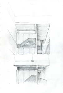 Sketch #4. This is my favorite area of the Salk. The courtyards and stairs that connect the research labs to the scientists' studies.